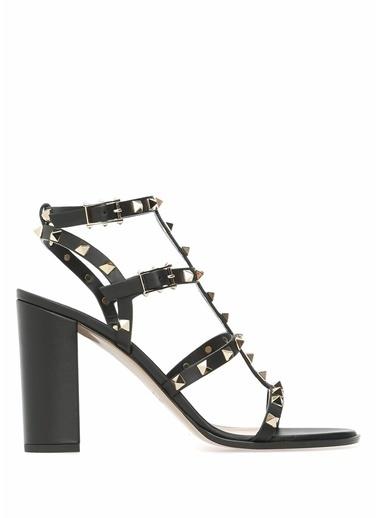Valentino Kalın Topuklu %100 Deri Sandalet Siyah